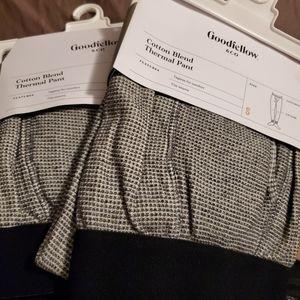 2 pair's Thermal Pant Mens Elastic Waist